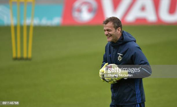 Roy Carroll is pictured as the Northern Ireland football squad train at Windsor Park on June 1, 2017 in Belfast, Northern Ireland. New Zealand are...