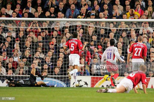 Roy Carroll of Manchester United reacts to Mahamadou Diarra of Lyon scoring the second goal during the UEFA Champions League match between Manchester...