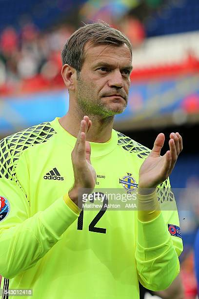 Roy Carroll of Northern Ireland applauds at the end of the UEFA Euro 2016 Round of 16 match between Wales and Northern Ireland at Parc des Princes on...