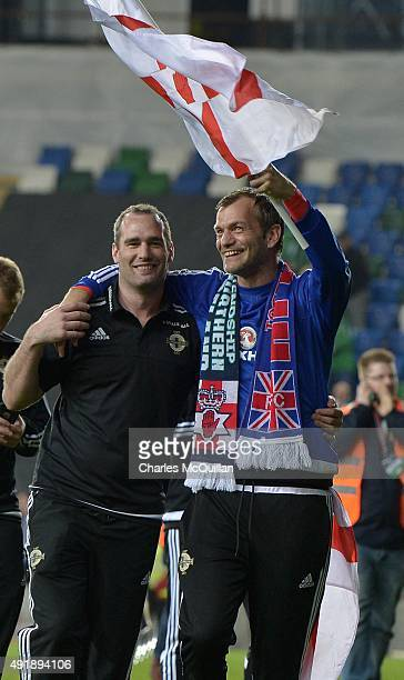 Roy Carroll of Northern Ireland celebrates clinching qualification after this evenings Euro 2016 Group F international football match against Greece...