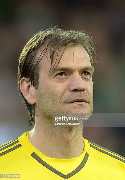 Roy Carroll of Northern Ireland during the international friendly between Northern Ireland and Slovenia at Windsor Park on March 28, 2016 in Belfast,...