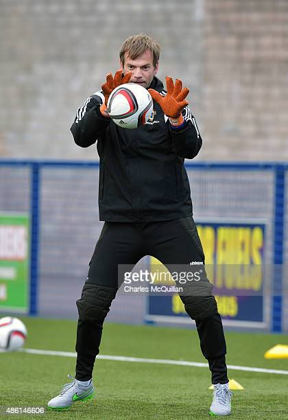 Roy Carroll of Northern Ireland trains as the international football squad train on Bangor F.C's plastic pitch on September 1, 2015 in Bangor,...