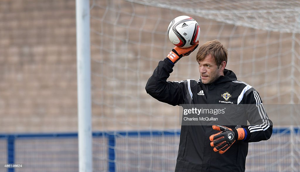 Roy Carroll of Northern Ireland trains as the international football squad train on Bangor F.C's plastic pitch on September 1, 2015 in Bangor, Northern Ireland. Northern Ireland travel to face the Faroe Islands in a Euro 2016 Group F qualifiying game in Torshavn on Friday evening.