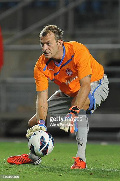 Roy Carroll of Olympiacos in action during a pre-Season friendly match between Newcastle United and Olympiacos on July 27, 2012 in Faro, Portugal.