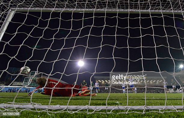 Roy Carroll saves a penalty from Frodi Benjaminsen during the Euro 2016 Qualifier between Northern Ireland and Faroe Islands at Windsor Park on...
