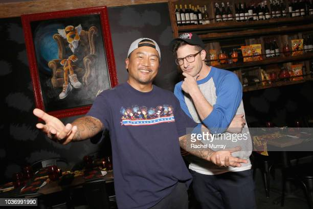 Roy Choi and Andy Samberg attend The Flamin Hot Spot Cheetos new limitedtime restaurant with a menu inspired by chef Roy Choi at Madera Kitchen on...