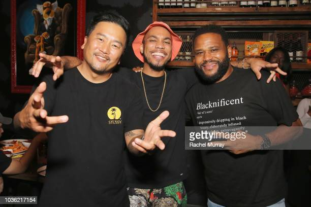 Roy Choi Anderson Paak and Anthony Anderson attend The Flamin Hot Spot Cheetos new limitedtime restaurant with a menu inspired by chef Roy Choi at...