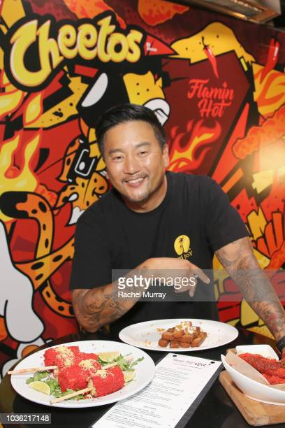 Roy Choi attends The Flamin Hot Spot Cheetos new limitedtime restaurant with his curated menu at Madera Kitchen on September 19 2018 in Hollywood...