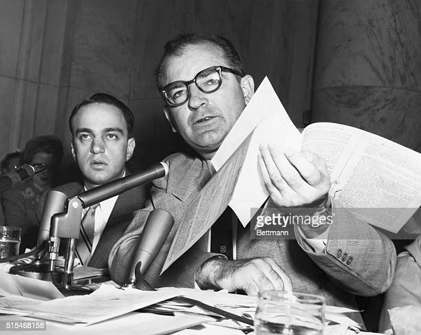 Roy Cohn and Senator Joseph R. McCarthy during the McCarthy investigations, trying to prove the existence of Communist subversion in high government...