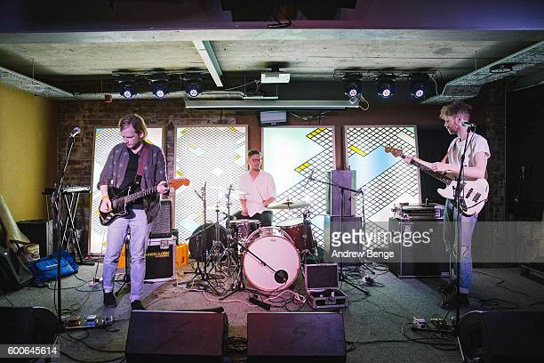 Roy Duffy Ruan Van Vliet and Ian McFarlane of Squarehead perform at Headrow House on September 6 2016 in Leeds England