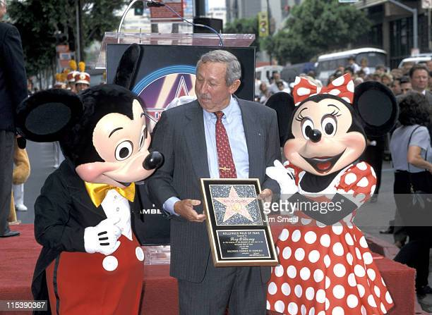 Roy E Disney with Mickey Mouse and Minnie Mouse during Roy O Disney Posthumously Honored with a Star on the Hollywood Walk of Fame at Hollywood...