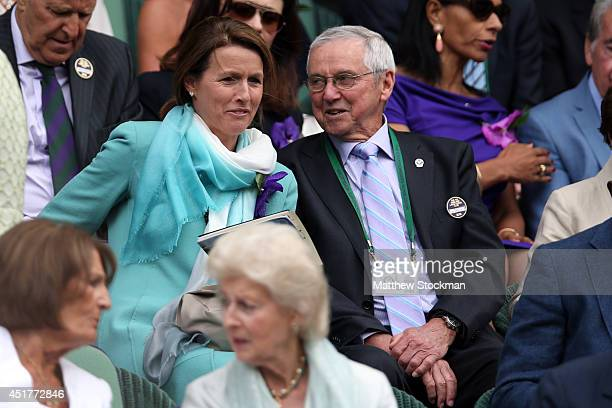 Roy Emerson is seen in the Royal Box on Centre Court before the Gentlemen's Singles Final match between Roger Federer of Switzerland and Novak...