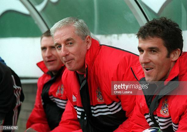 Roy Evans and KarlHeinz Reidler seen during the match between Fulham v Crystal Palace in the Nationwide League Division One played at Craven Cottage...