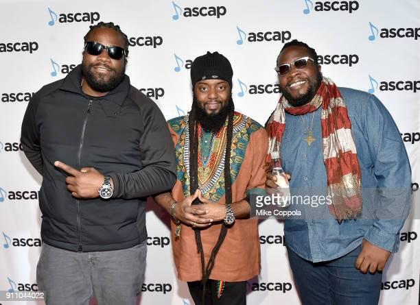 Roy 'Gramps' Morgan Peter 'Peetah' Morgan and Memmalatel 'Mr Mojo' Morgan of Morgan Heritage attend the 2018 ASCAP Grammy Nominees Reception at Top...