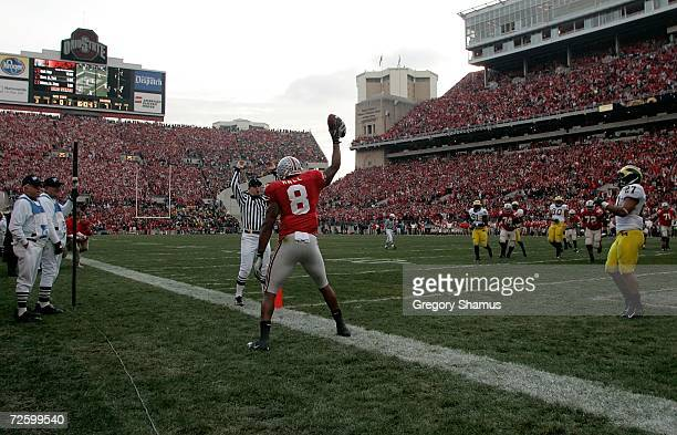 Roy Hall of the Ohio State Buckeyes celebrates his first quarter touchdown against the Michigan Wolverines November 18 2006 at Ohio Stadium in...