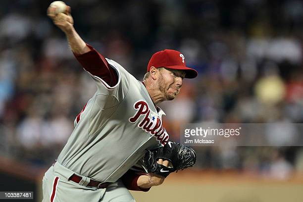 Roy Halladay of the Philadelphia Phillies delievers a pitch against the New York Mets on August 14 2010 at Citi Field in the Flushing neighborhood of...