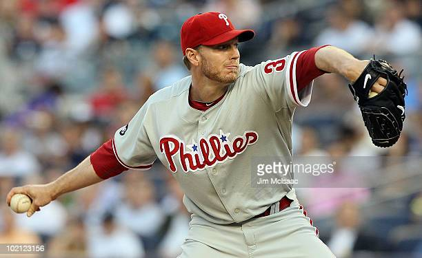 Roy Halladay of the Philadelphia Phillies delivers a pitch against the New York Yankees on June 15 2010 at Yankee Stadium in the Bronx borough of New...