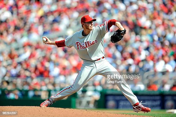 Roy Halladay of the Philadelphia Phillies pitches against the Washington Nationals on Opening Day at Nationals Park on April 5 2010 in Washington DC