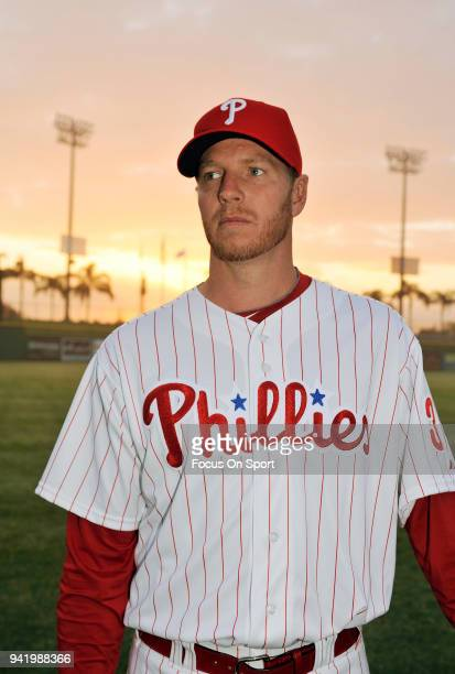 Roy Halladay of the Philadelphia Phillies poses for this portrait during Major League Baseball spring training February 22 2011 at Jack Russell...
