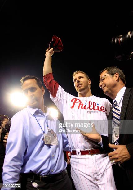 Roy Halladay of the Philadelphia Phillies waves to the crowd after pitching a nohitter in Game 1 of the NLDS against the Cincinnati Reds at Citizens...