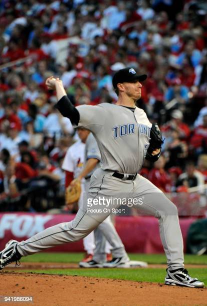 Roy Halladay of the Toronto Blue Jays and the American League AllStars pitches against the National League All Stars during the MLB AllStar Game July...