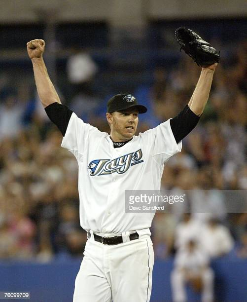 Roy Halladay of the Toronto Blue Jays celebrates his complete game win against the Los Angeles Angels of Anaheim on August 14 2007 at the Rogers...