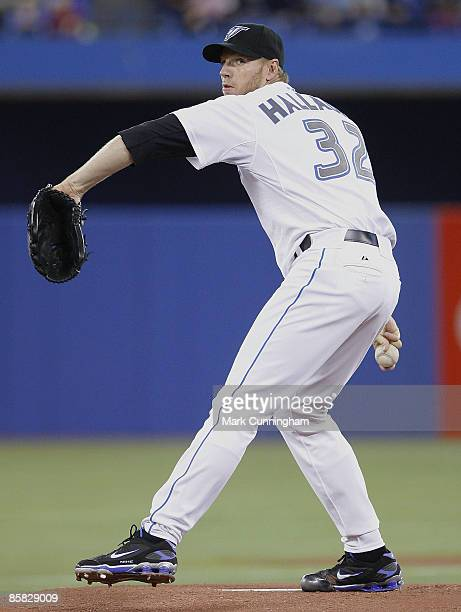 Roy Halladay of the Toronto Blue Jays pitches against the Detroit Tigers during the opening day game at the Rogers Centre on April 6 2009 in Toronto...