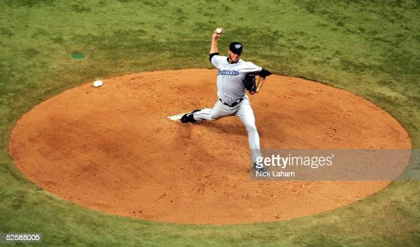 Roy Halladay of the Toronto Blue Jays pitches against the Devil Rays during the Tampa Bay Devil Rays home opener at Tropicana Field on April 4 2005...