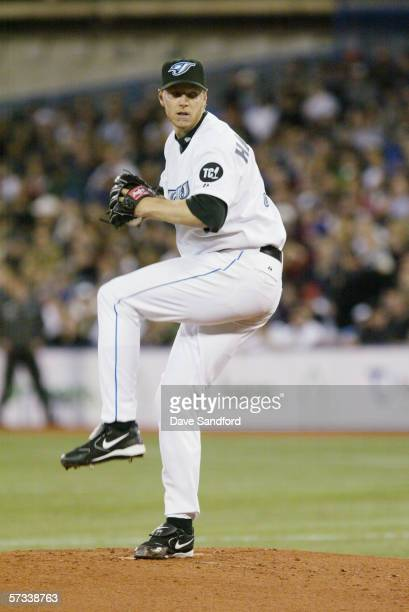 Roy Halladay of the Toronto Blue Jays pitches against the Minnesota Twins during the home opener at the Rogers Centre on April 4 2006 in Toronto...