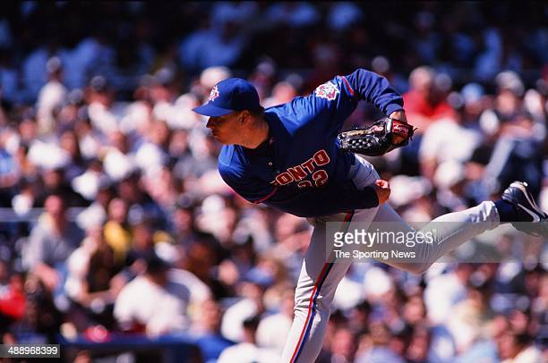 Roy Halladay of the Toronto Blue Jays pitches against the New York Yankees at Yankee Stadium on April 30 2000 in the Bronx borough of New York City...