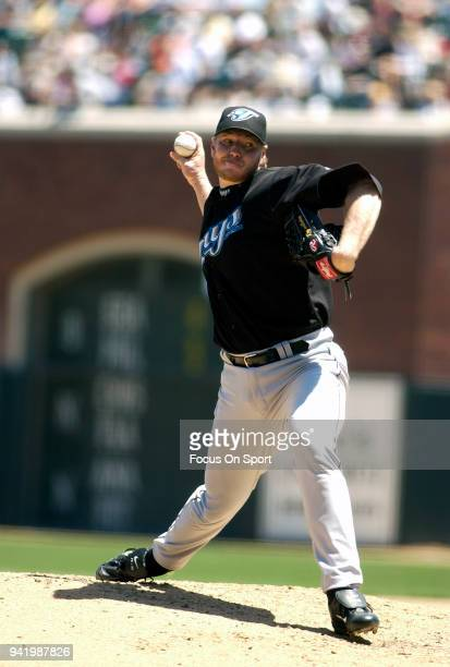 Roy Halladay of the Toronto Blue Jays pitches against the San Francisco Giants during an Major League Baseball game June 17 2004 at ATT Park in San...