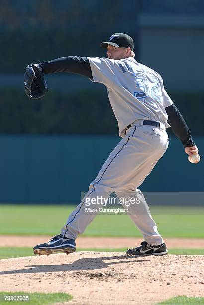 Roy Halladay of the Toronto Blue Jays pitches during the game against the Detroit Tigers at Comerica Park in Detroit Michigan on April 2 2007 The...