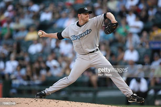 Roy Halladay of the Toronto Blue Jays pitches during the game against the Chicago White Sox at US Cellular Field in Chicago Illinois on July 28 2007...