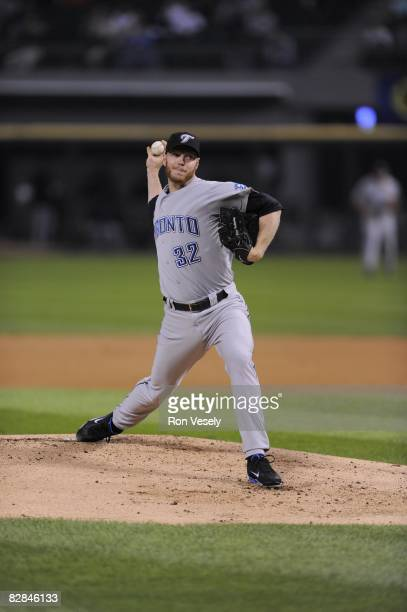 Roy Halladay of the Toronto Blue Jays pitches during the game against the Chicago White Sox at US Cellular Field in Chicago Illinois on September 10...