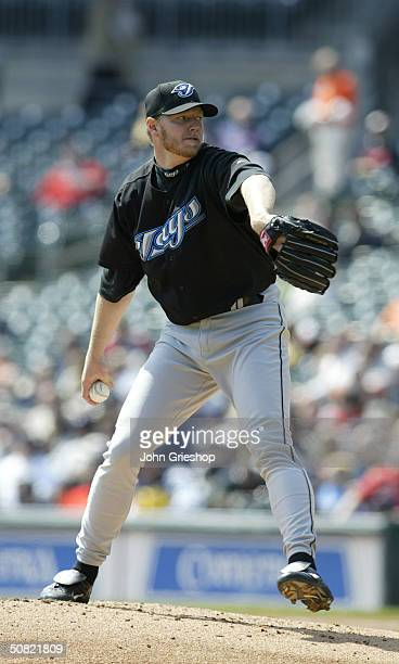Roy Halladay of the Toronto Blue Jays pitches during the MLB game against the Detroit Tigers at Comerica Park on April 15 2004 in Detroit Michigan...