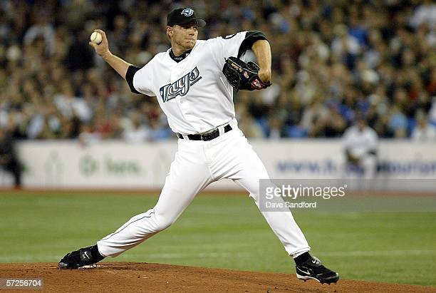 Roy Halladay of the Toronto Blue Jays throws a pitch against the Minnesota Twins on April 4 2006 at the Rogers Centre in Toronto Ontario The Blue...