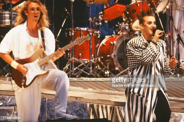Roy Hay and Boy George of Culture Club on stage at Yokohama Stadium, Yokohama, Japan, 10th August 1985.