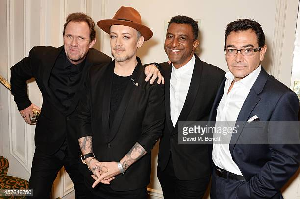 Roy Hay Boy George Mikey Craig and Jon Moss of Culture Club arrive at the Xperia Access Q Awards at The Grosvenor House Hotel on October 22 2014 in...