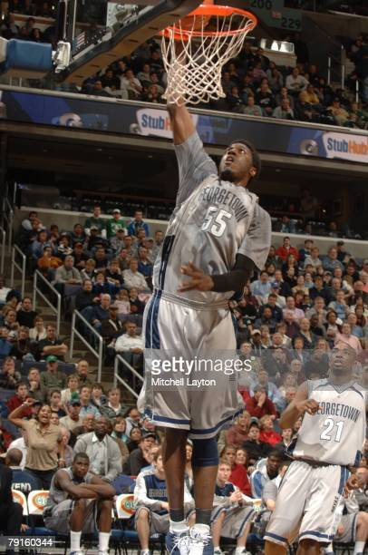 Roy Hibbert of the Georegtown Hoyas goes for a layup during against the Notre Dame Fighting Irish at Verizon Center on January 19 2008 in Washington...