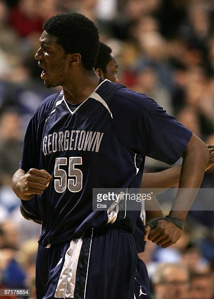 Roy Hibbert of the Georgetown Hoyas reacts against the Florida Gators during their Minneapolis Regional Semifinal of the 2006 NCAA Divison I Men's...