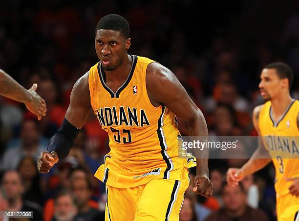 Roy Hibbert of the Indiana Pacers celebrates a shot in the second half against the New York Knicks during Game One of the Eastern Conference...