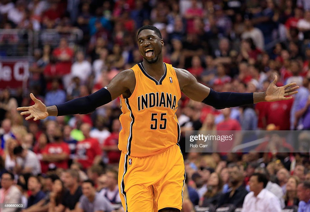 Roy Hibbert #55 of the Indiana Pacers celebrates after scoring a basket late in the fourth quarter of the Pacers 95-92 win over the Washington Wizards during Game Four of the Eastern Conference Semifinals during the 2014 NBA Playoffs at Verizon Center on May 11, 2014 in Washington, DC.