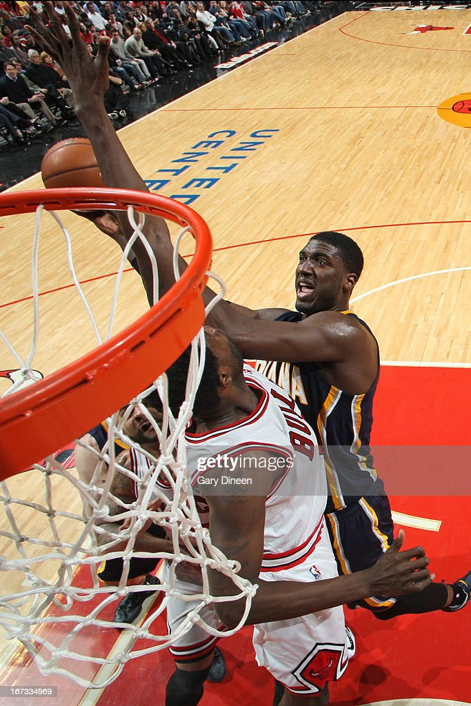 Roy Hibbert #55 of the Indiana Pacers drives to the basket against the Chicago Bulls on March 23, 2013 at the United Center in Chicago, Illinois.