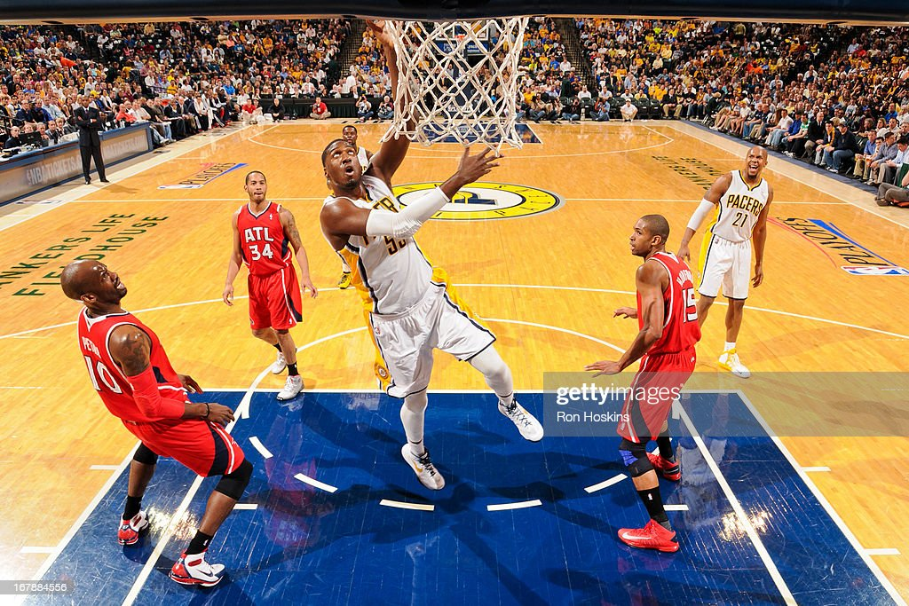 Roy Hibbert #55 of the Indiana Pacers drives to the basket against the Atlanta Hawks in Game Five of the Eastern Conference Quarterfinals during the 2013 NBA Playoffs on May 1, 2013 at Bankers Life Fieldhouse in Indianapolis, Indiana.