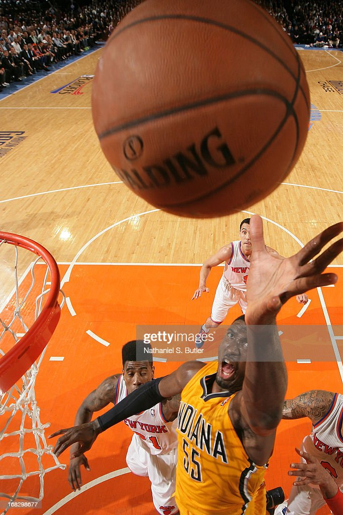 Roy Hibbert #55 of the Indiana Pacers drives to the basket against the New York Knicks in Game Two of the Eastern Conference Semifinals during the 2013 NBA Playoffs on May 7, 2013 at Madison Square Garden in New York City.