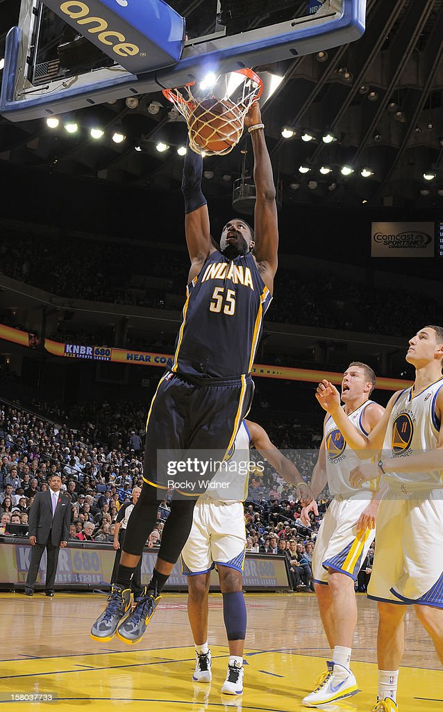 Roy Hibbert #55 of the Indiana Pacers goes up for the dunk against the Golden State Warriors on December 1, 2012 at Oracle Arena in Oakland, California.