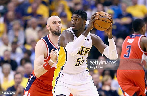 Roy Hibbert of the Indiana Pacers looks to pass the ball against the Washington Wizards in Game 5 of the Eastern Conference Semifinals during the...