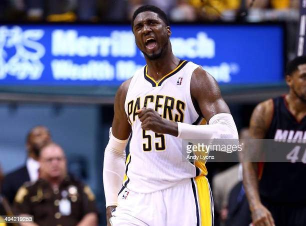Roy Hibbert of the Indiana Pacers reacts against the Miami Heat during Game Five of the Eastern Conference Finals of the 2014 NBA Playoffs at Bankers...