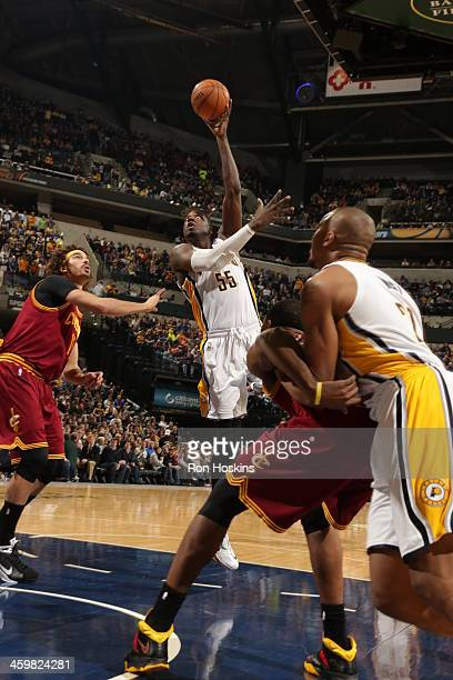 Roy Hibbert of the Indiana Pacers shoots the ball against the Cleveland Cavaliers at Bankers Life Fieldhouse on December 28 2013 in Indianapolis...