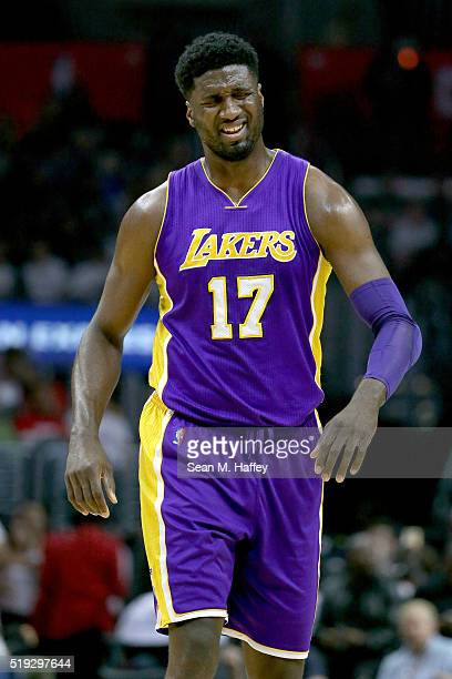 Roy Hibbert of the Los Angeles Lakers looks on during the first half of an NBA game against the Los Angeles Clippers on April 5 2016 at Staples...
